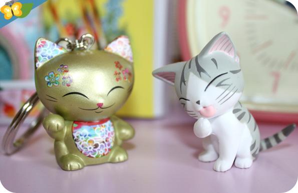 Porte-clefs Mani the lucky cat et figurine de Chi