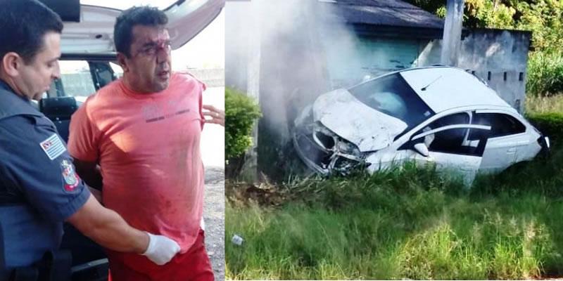 Suspeito de feminicídio capota veículo roubado após perseguição em Mogi Guaçu (SP)