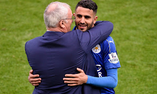Riyad Mahrez and Claudio Ranieri celebrate Leicester's title win.