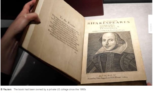 Shakespeare sells first folio records at $10m