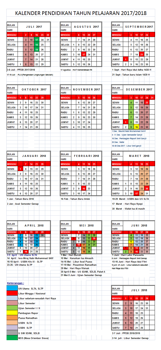 Download Kalender Pendidikan 2017 2018 Uptd Kec