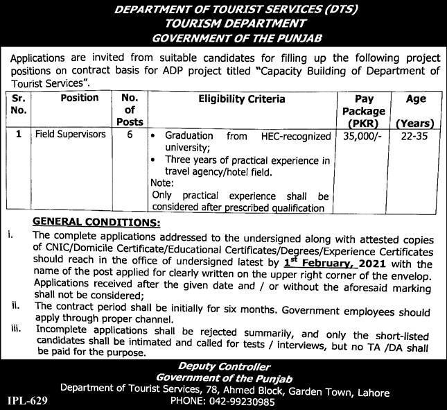 Latest Tourism Department Punjab Jobs Opportunities 2021