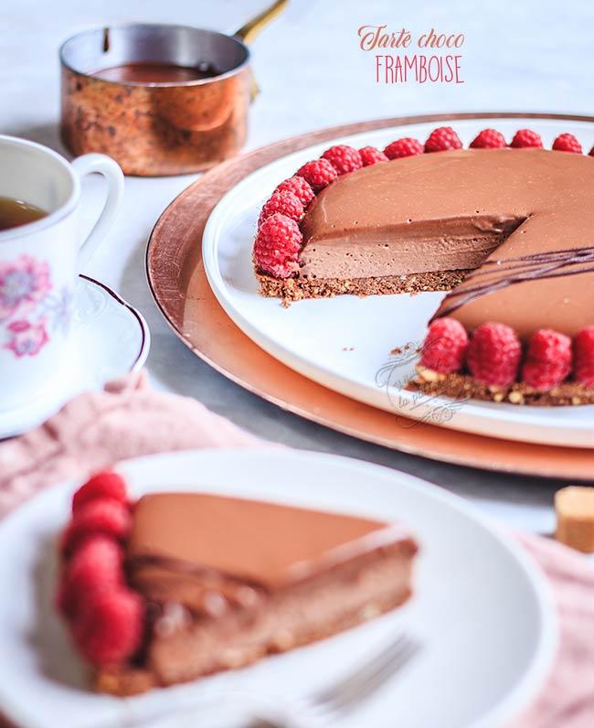 recette tarte framboise chocolat