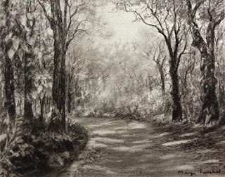 Charcoal sketching of a forest scene from Matheran by Manju Panchal