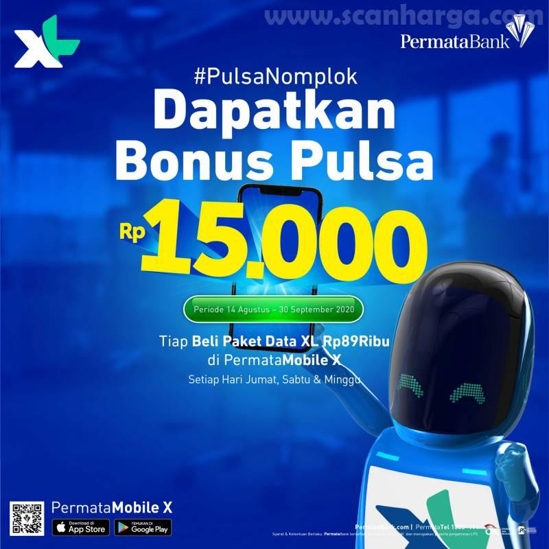 Promo XL Bonus Pulsa Rp15 Ribu Tiap Beli Paket Data XL 89Rb di Permata Moblile X