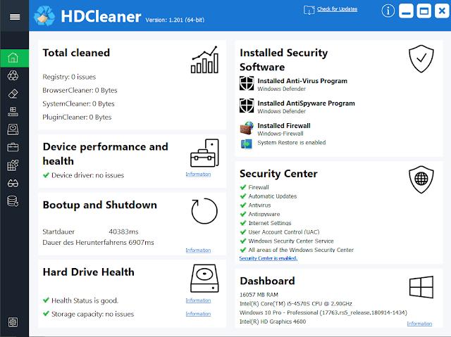 تحميل برنامج HDCleaner 2020 لتسريع وتنظيف الكمبيوتر مجانا