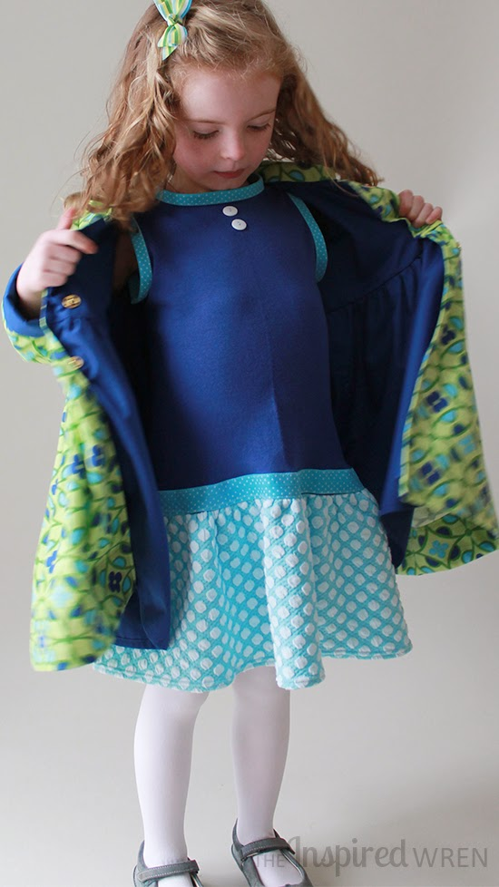 Kicky little blue dress beneath a blue-lined coat -- love it! | Penny Vintage Coat Set sewn by The Inspired Wren