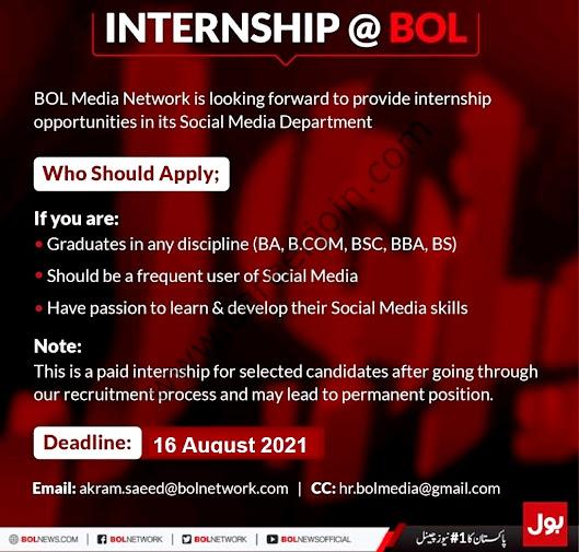 BOL Media Network Internship August 2021 - Bol Media Latest  Jobs 2021