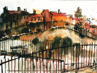 Plein air ink & wash painting of Ways Terrace, Pyrmont by industrial heritage artist Jane Bennett