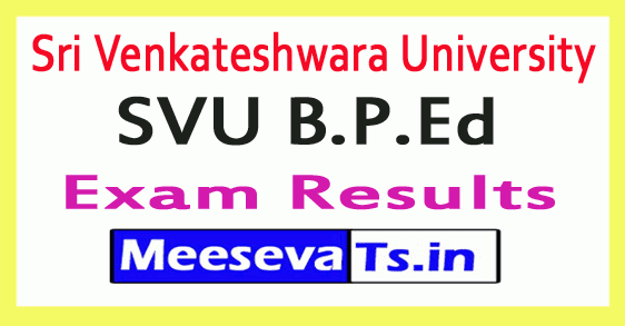 Sri Venkateshwara University SVU B.P.Ed Exam Results