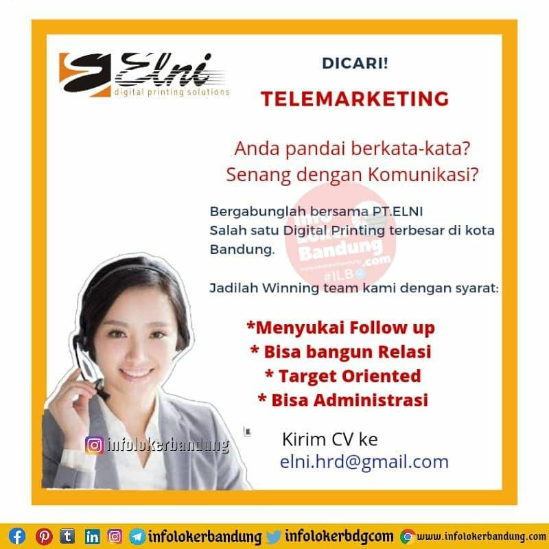 Lowongan Kerja Telemarketing PT. ELNI Digital Printing Bandung Maret 2021