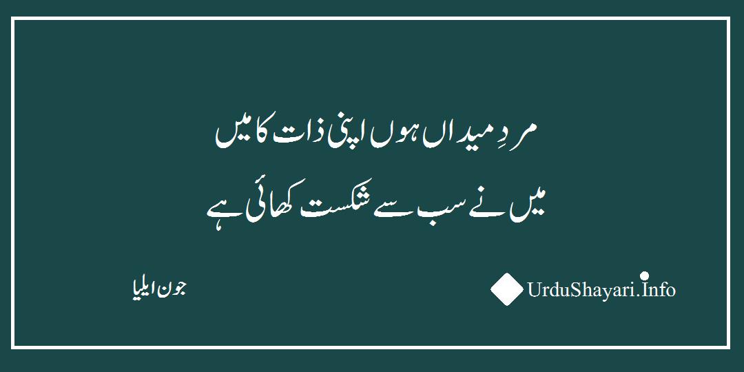 urdu sher - 2 lines urdu poetry by jhon elia ki ghazal