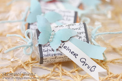 Gästegeschenke basteln, Gästegoodies, stempel-biene, Stampin Up Designerpapier im Block, Stampin Up bestellen
