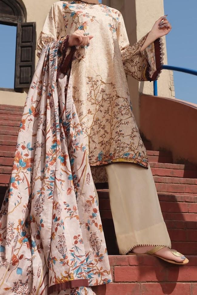 Almirah Skin color 3 pc suit Eid collection