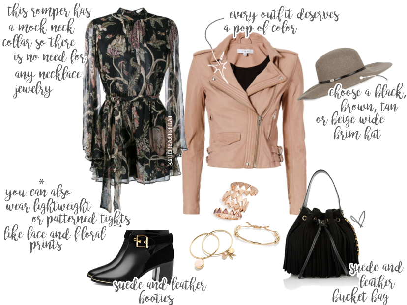 Floral Print Romper paired with this Rose Leather Jacket