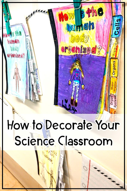 Hang student work to add warmth and color to your middle school science classroom