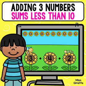 Adding 3 numbers with sums under 10 to make this hard first grade concept a lot easier! Plus it's a digital math game so kids can play it on a computer or tablet