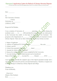 application letter for refund of library security