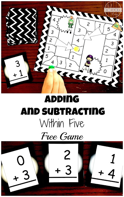 FREE Addition and Subtraction within 5 Game - This printable math game is perfect to achieve math fluency. This Kindergarten Math game will help kids quickly add numbers within 5 without their fingers, number lines, or manipulatives.