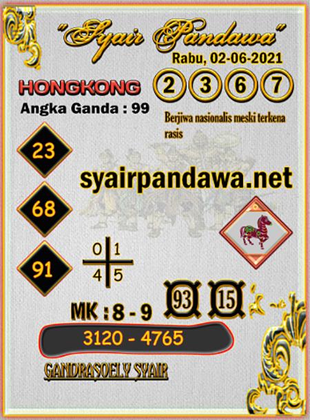 Syair Pandawa HK Rabu 02 Juni 2021