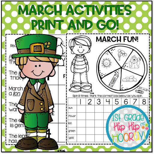 Math and Literacy Activities...March Themed...Print and Go!