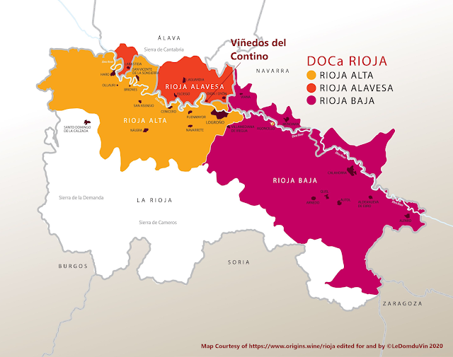 Map Courtesy of https://www.origins.wine/rioja edited for and by ©LeDomduVin 2020