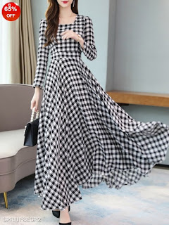 Black and White Checkered Round Neck Printed Maxi Dress