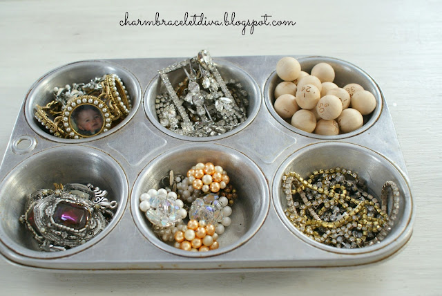 vintage cupcake tins jewelry organizer wooden beads