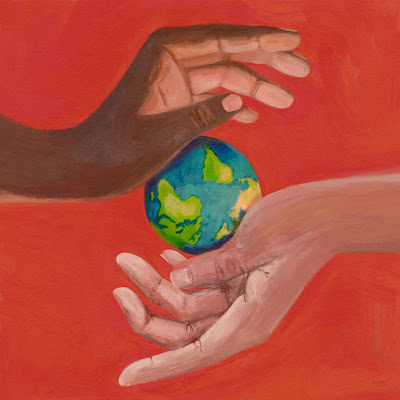 Blank hand white hand hold planet earth