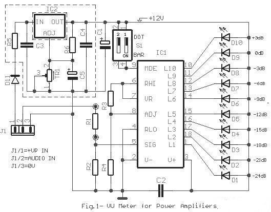 10 led bar dot vu meter circuit based lm3915 supreem circuits