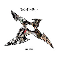 Album cover, white with a comics style throwing star