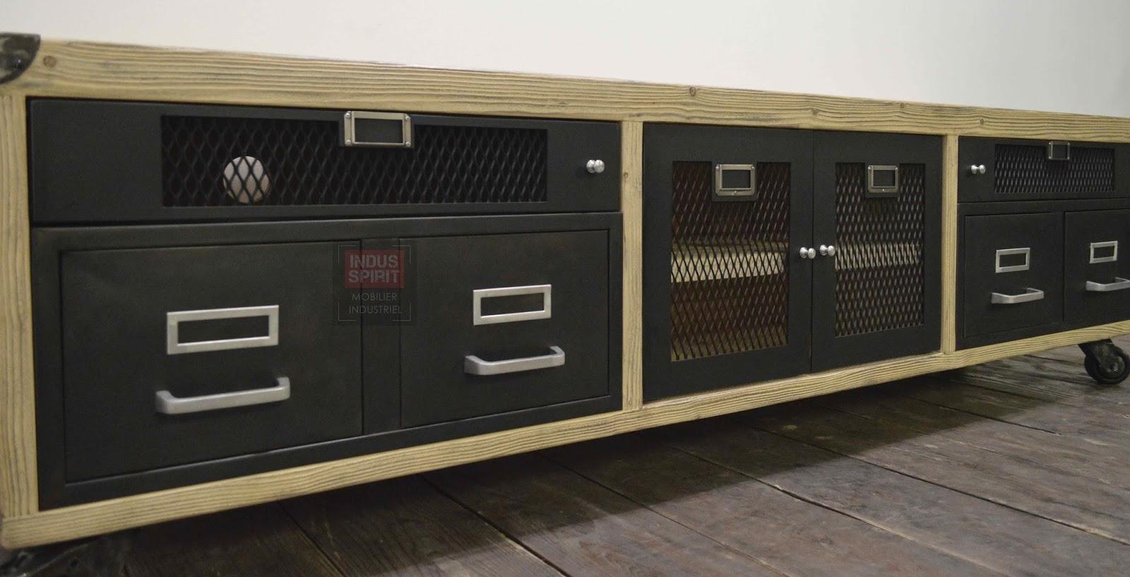 meuble tv bois et m tal. Black Bedroom Furniture Sets. Home Design Ideas
