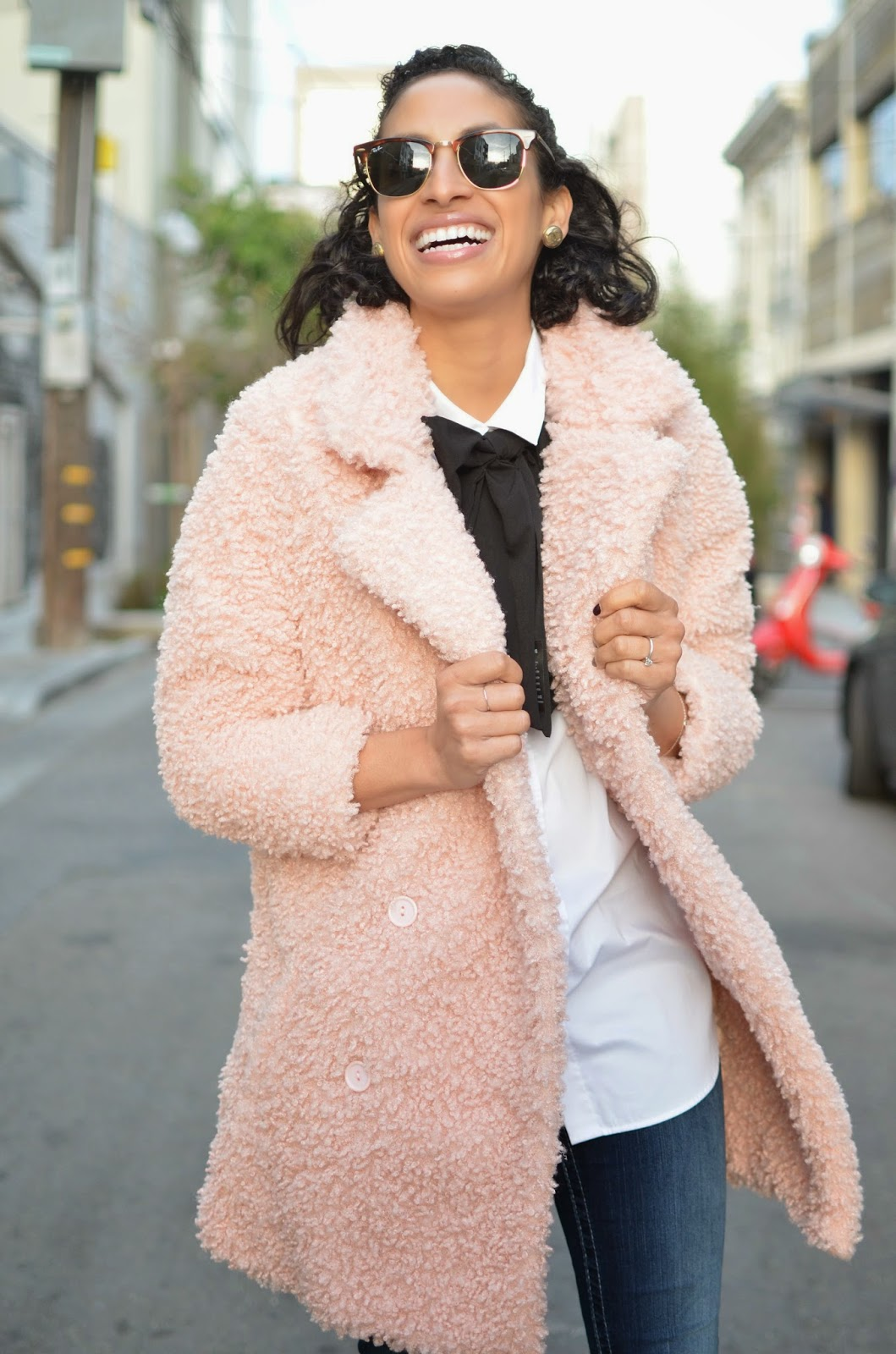 Allergic to Vanilla SF Style Blog, pink curly wool coat, pink faux fur coat, B by Brian Atwood, black ankle strap heels, True Religion denim, Missguided, Asos bow tie,