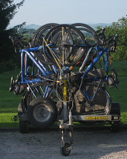 Trailer loaded with all the bikes, Drumlanrig Castle, Scotland