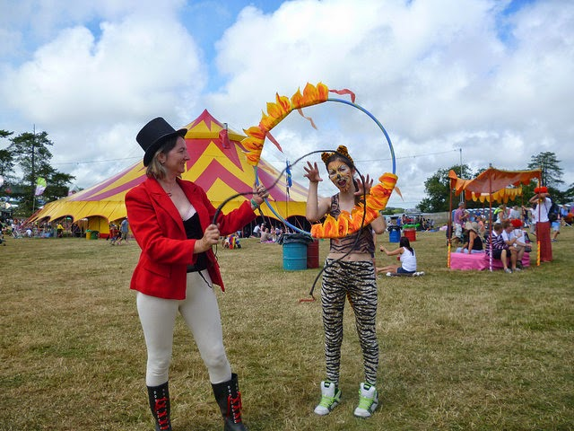 Ringmaster and tiger costumes at a festival