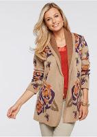Jachetă tricotată cu motive florale