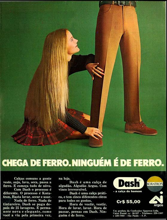 Campanha das Calças Dash no começo dos anos 70 repleta de mensagens subliminares.