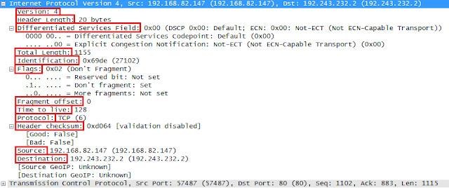 Wireshark التقاط حقول رأس IP