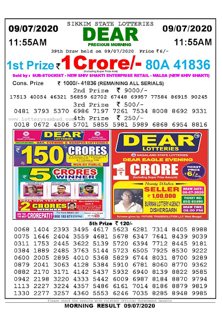 Sikkim State Lotteries 09-07-2020 Lottery Sambad Result 11:55 AM