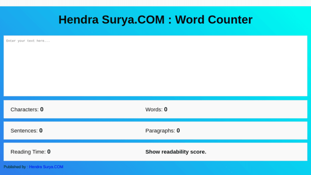 Word Counter Basis HTML