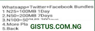 GLO New Social Bundle Plan   Get 100MB for N25, 200MB for N50, 500MB for N100(December 2020/2021 offer)