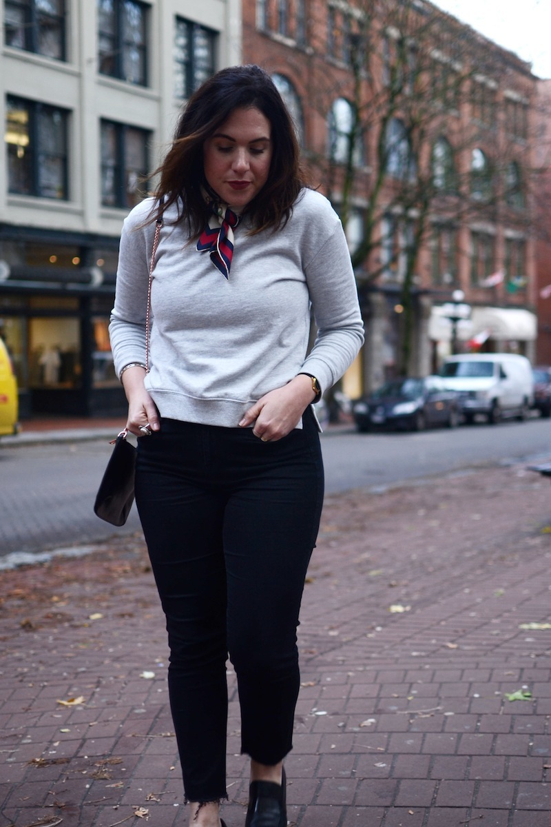 how to wear a silk scarf outfit idea gucci silk hm sweater le chateau jeans vancouver fashion blogger