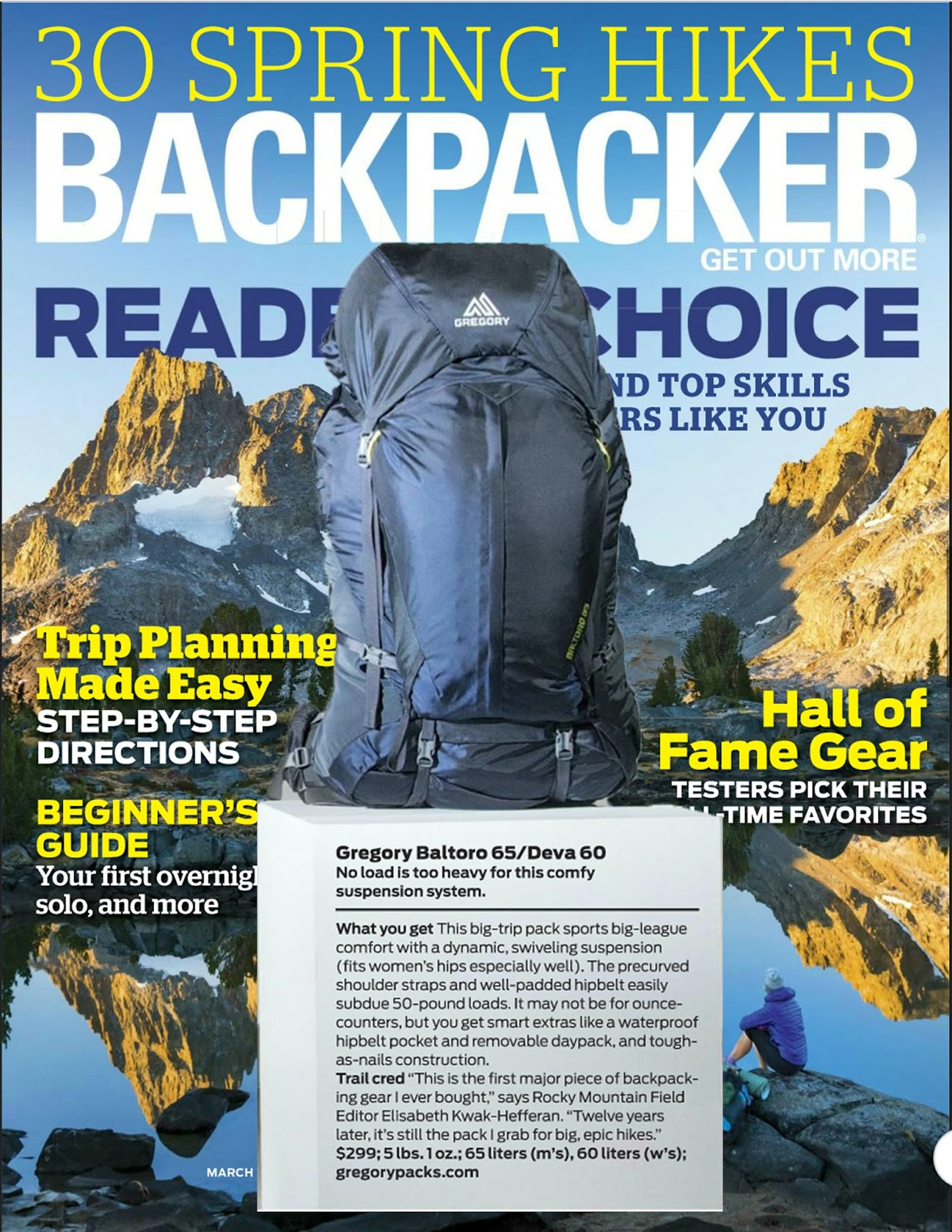 51fe11638 Backpacker magazine featured the Baltoro 65 in their March issue, naming it  in their roundup of
