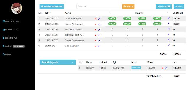 Source Code PHP MySQL Aplikasi Pembayaran Uang Kas Kelas Berbasis Web dengan CI