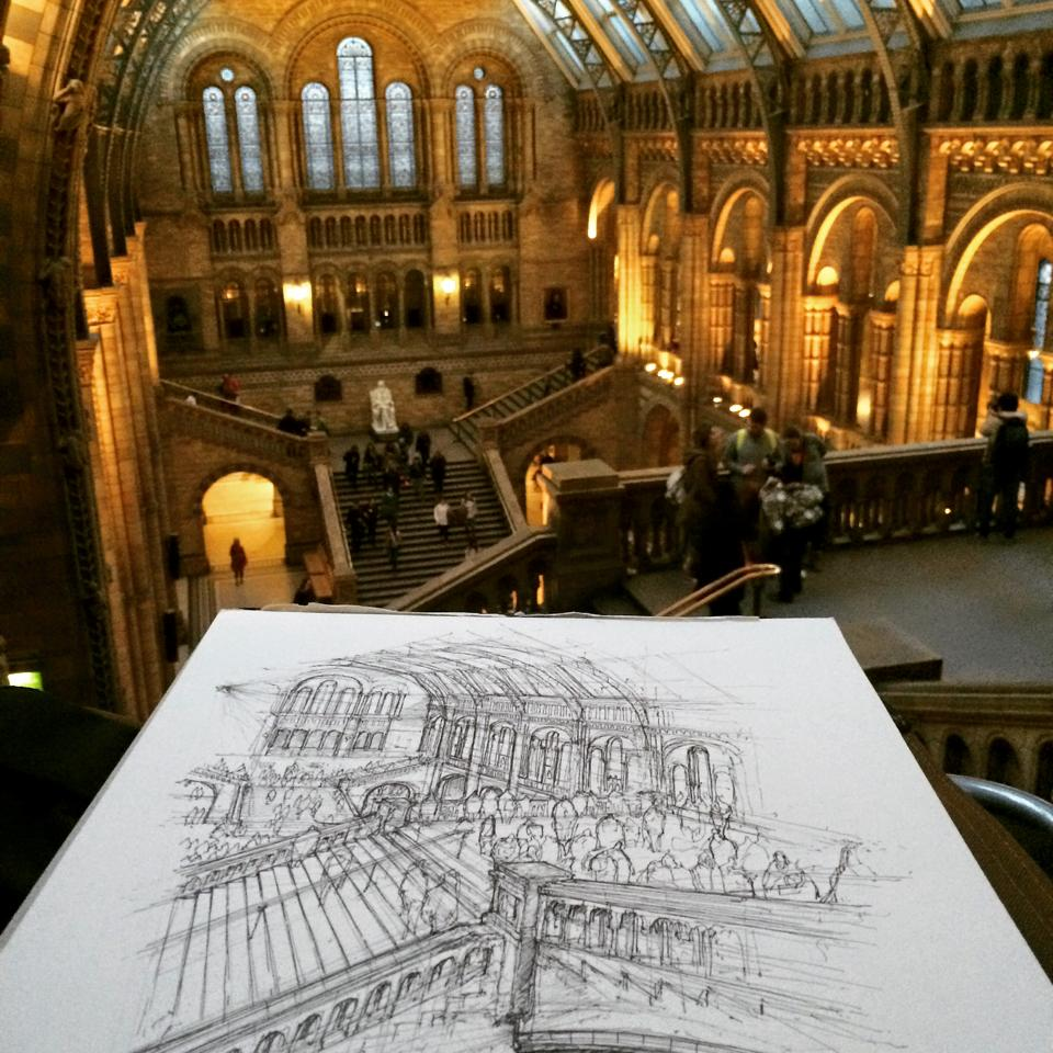 05-Natural-History-Museum-Luke-Adam-Hawker-Creating-Architectural-Drawings-on-Location-www-designstack-co