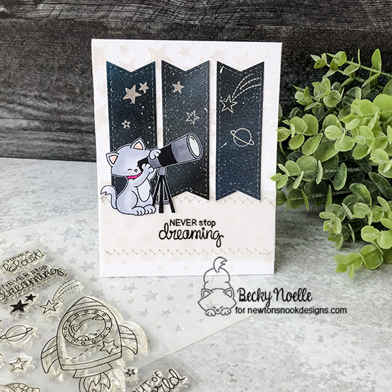 Never stop dreaming by Becky features Cosmic Newton, Cascading Stars, and Frames & Flags by Newton's Nook Designs; #newtonsnook