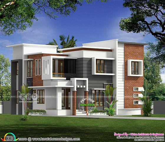 Flat roof modern 4 bedroom house in 2250 sq-ft