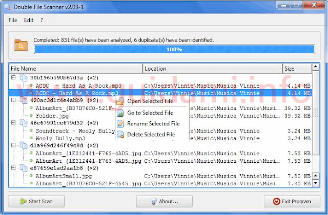 Double File Scanner risultati scansione file doppi trovati
