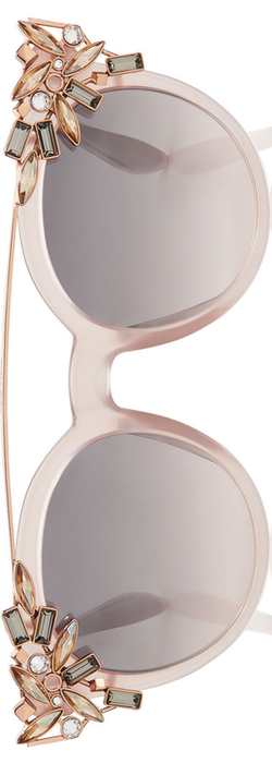 Jimmy Choo Vivy Pink Round Framed Sunglasses with Detachable Jewel Clip On