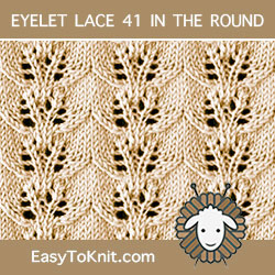 Twin Leaves Eyelet Lace stitch, easy to knit in the round